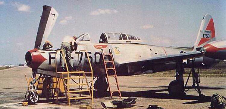 Republic F-84G-1-RE Thunderjet of the 27th FEW, receiving some maintenance.