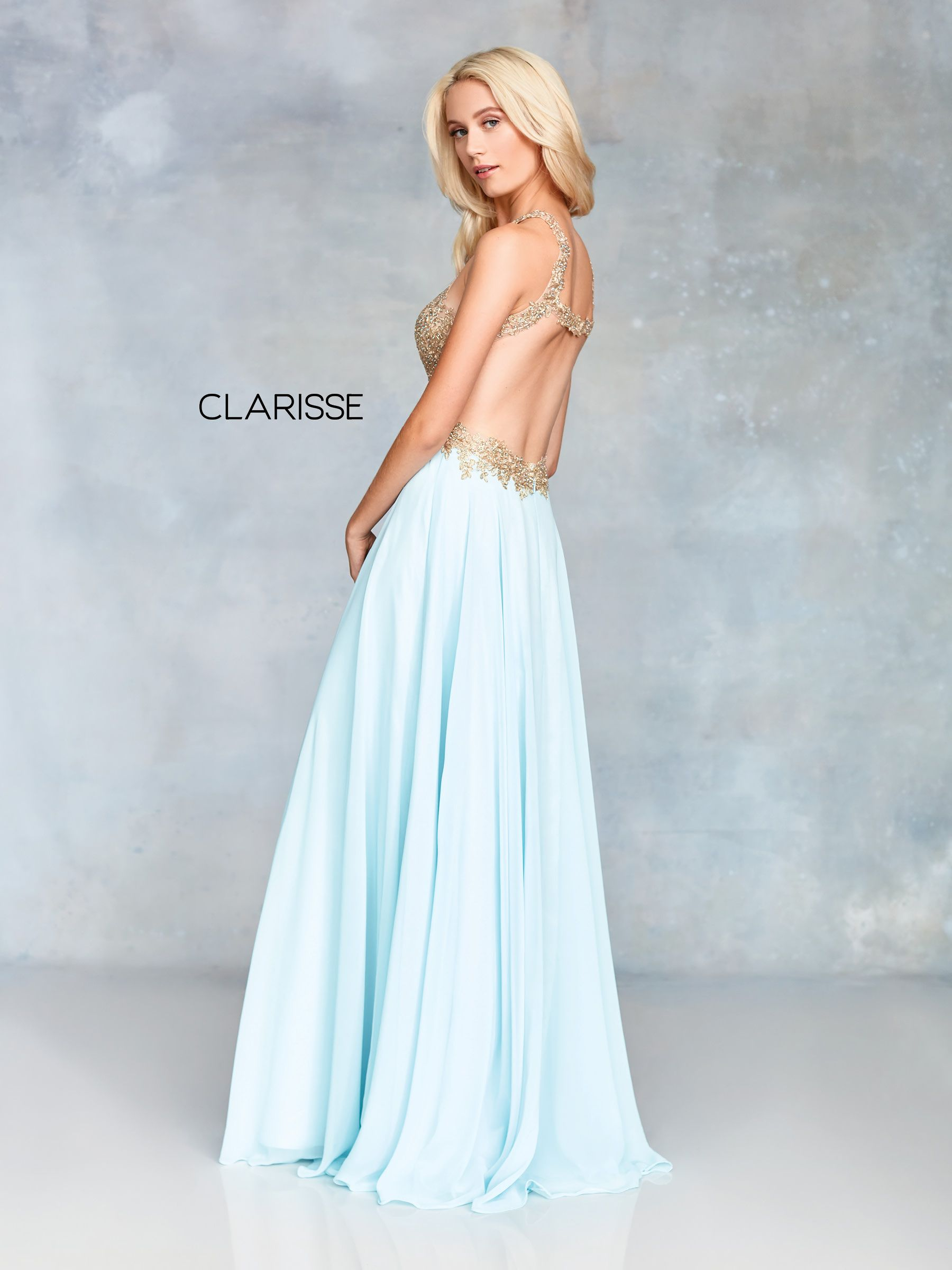 cf3b92fc10 3759 - Seafoam green and gold chiffon prom dress with a lace top and open  back