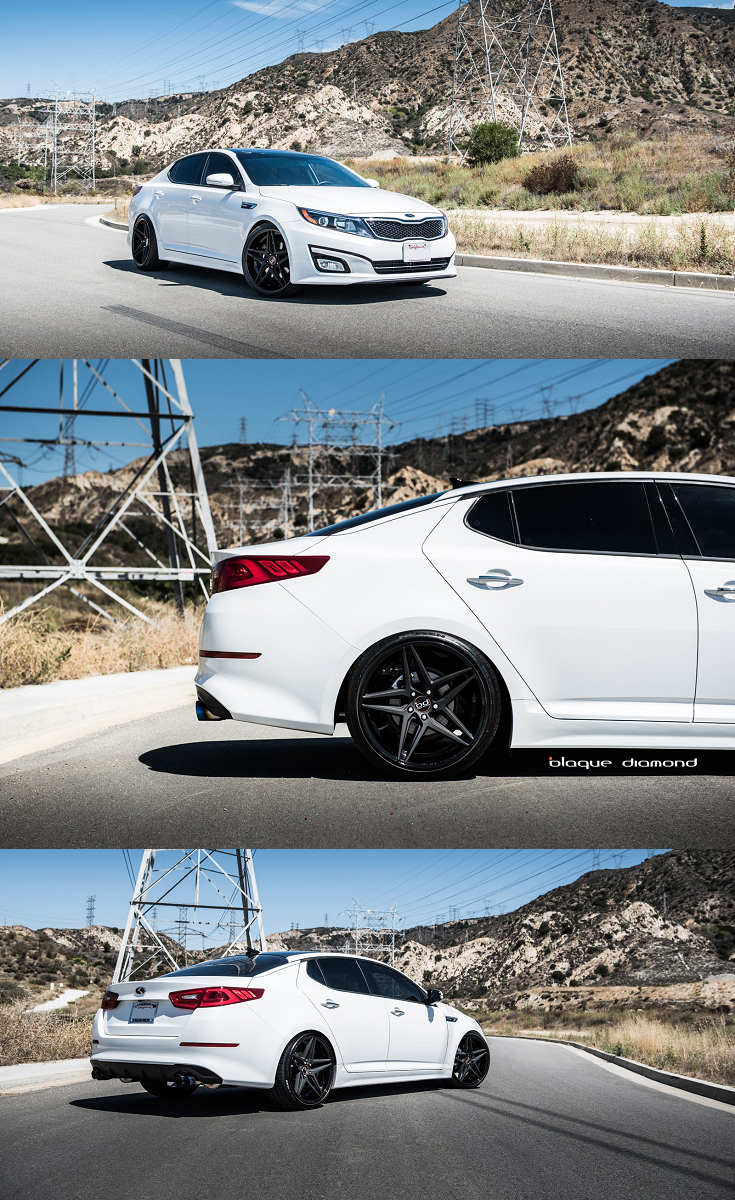 Nice White Kia Optima Sits Well On Matte Black Blaque Diamond Rims In 2020 Kia Optima Custom Wheels Diamond Rims