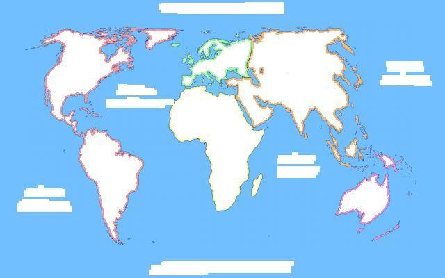 Mapa Para Jugar Dónde Está Continentes Y Océanos: Para Colocar, Continentes Y Océanos