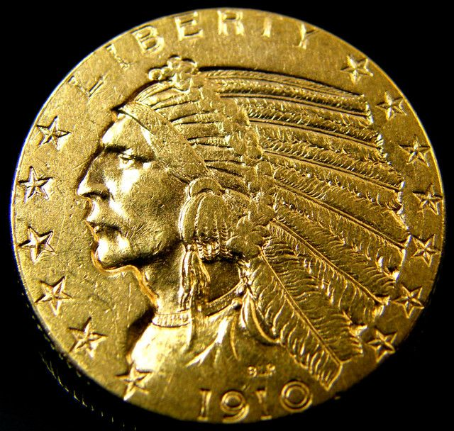 Usa Gold Coin 1910 Five Dollars Indian