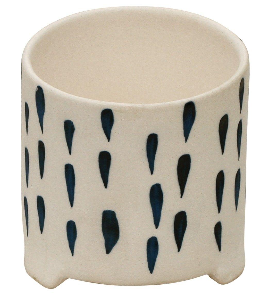 Rain Drops Handmade 4 Ceramic Flower Vase Planter Pot With Blue Strikes On White Elegant Home Decor Wholesale Garden Decor Handmade Ceramics