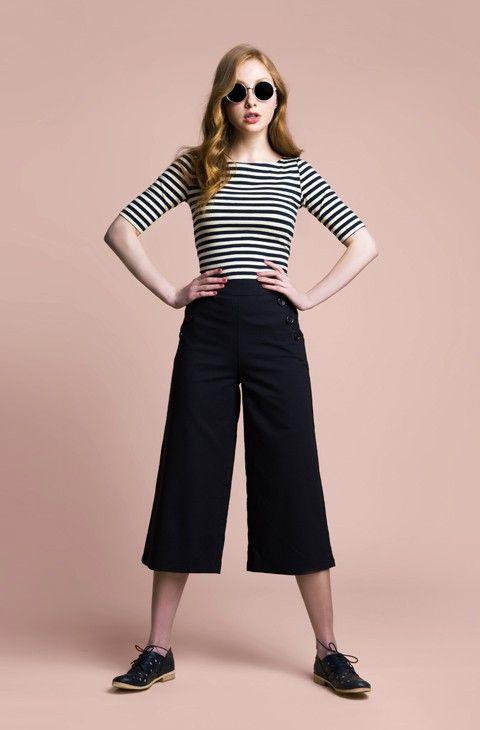 Princess Highway. Striped top, box pants, black vintage shoes, dark round…