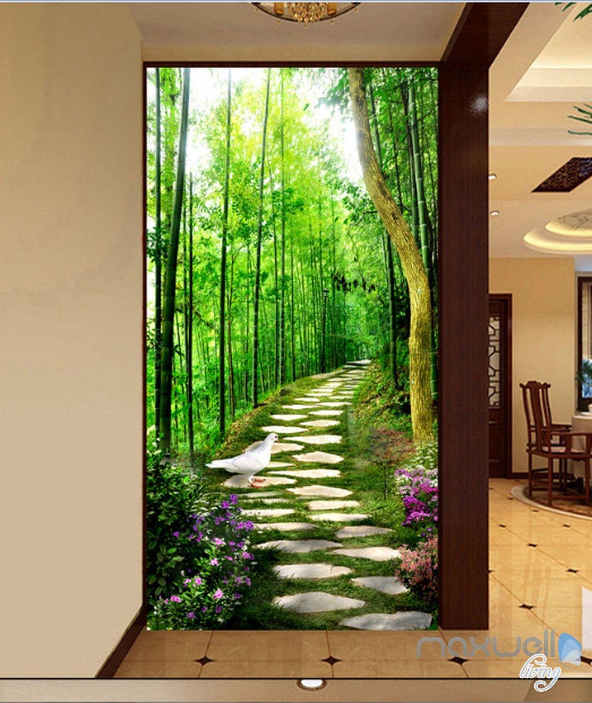 3D Bird Forest Lane Corridor Entrance Wall Mural Decals ...