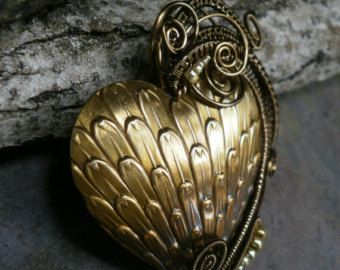 Gothic Steampunk Golden Heart Pin Pendant Brooch Part 2