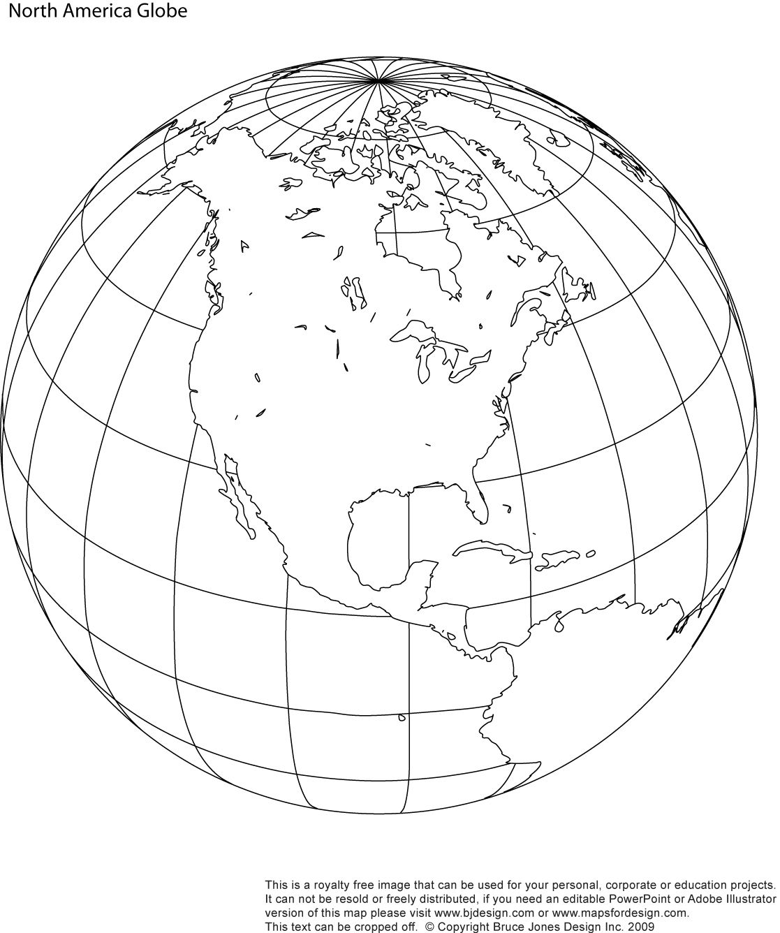 North America Printable Globe, Perfect For A School Or Craft Project.  Download And Print The Royalty Free Map.