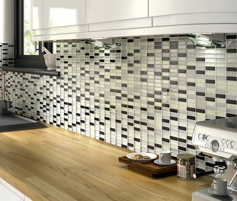 Modern Mosaic Glass Tile Backsplash Butcher Block Counter Top