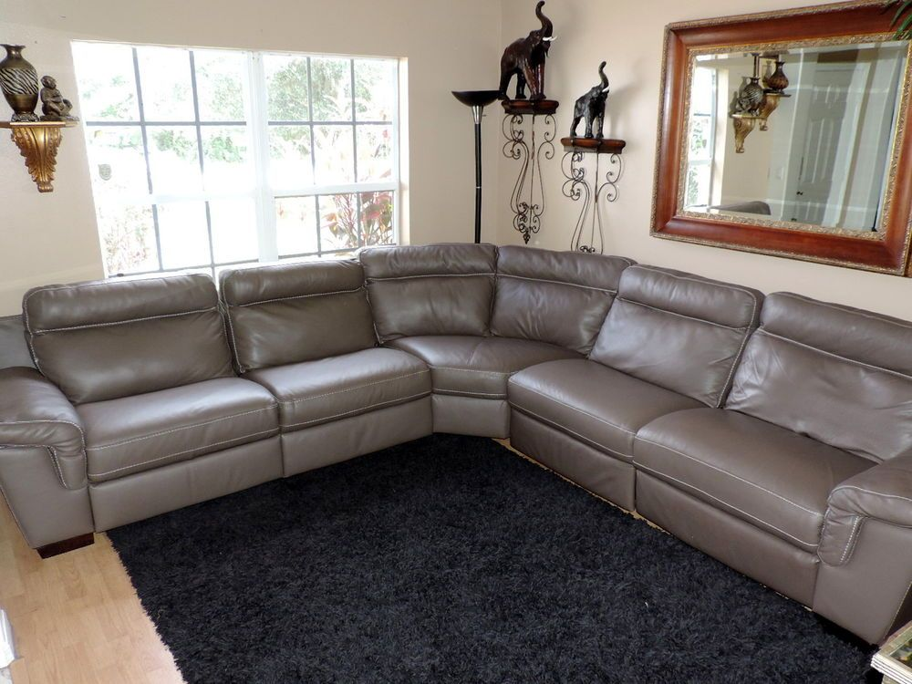 Natuzzi Julius Five Pc Power Triple Electric Reclining Taupe Leather Sectional & Macyu0027s Natuzzi Power Reclining Dove Grey Leather Sectional*WE SHIP ... islam-shia.org