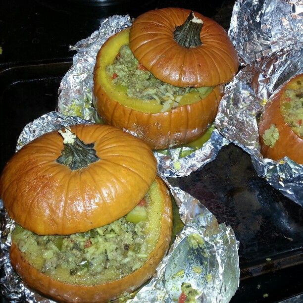 Stuff pumpkin w/ Jasmine rice /Ground Turkey