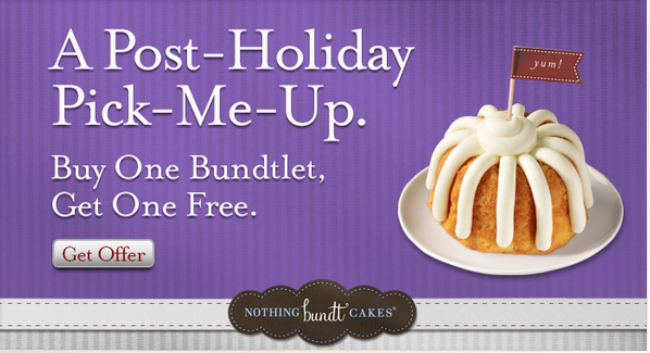 graphic regarding Nothing Bundt Cakes Coupons Printable named Practically nothing Bundt Cakes: Acquire A single Purchase One particular Free of charge Coupon For