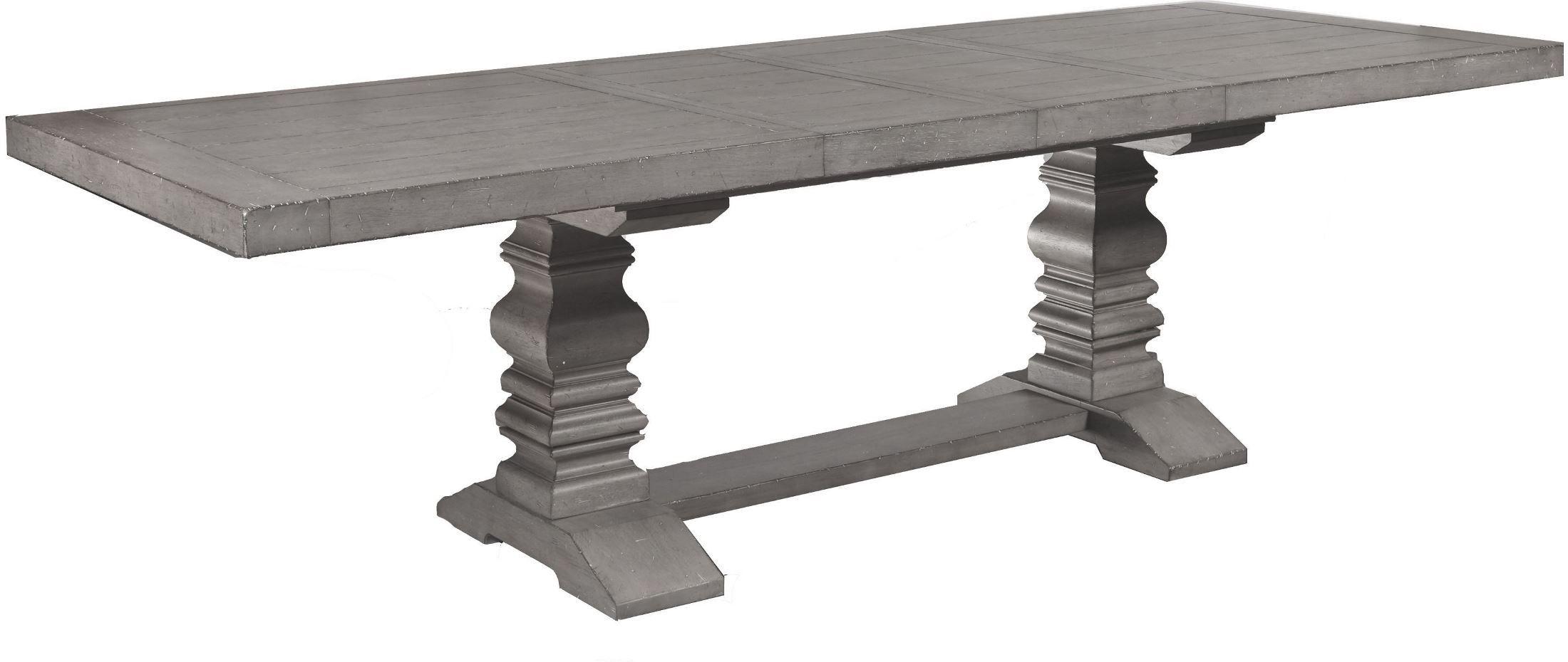 Beautiful Prospect Hill Gray Rectangular Extendable Pedestal Dining Table