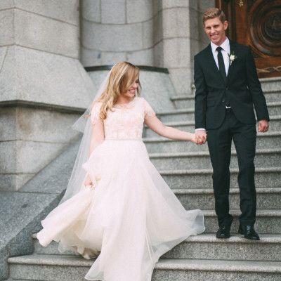 Flowy Modest Wedding Dress With Blush Lace From Alta Moda Bridal Utah