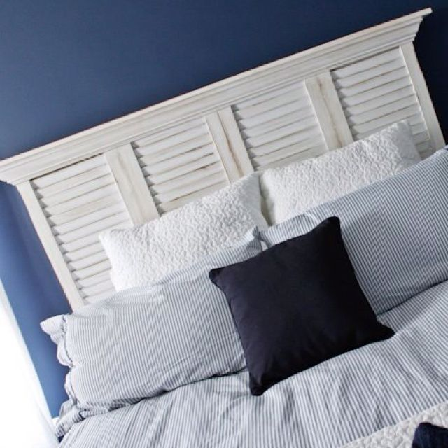 Shutter Headboard With Crown Molding