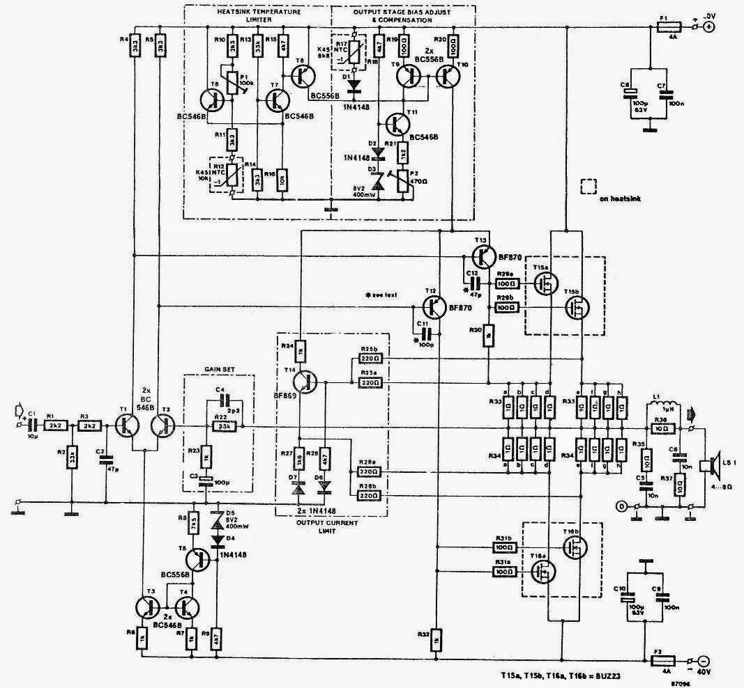 150w ocl power amplifier circuit diagram