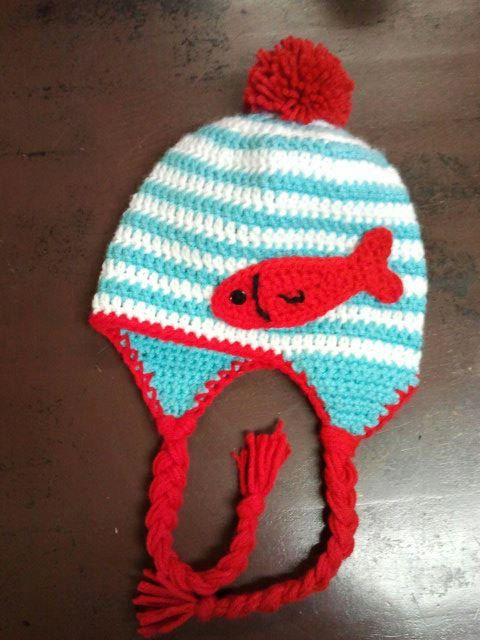Dr. Seuss Crochet Aqua and Red Earflap Hat Photo Prop. $22.00, via ...