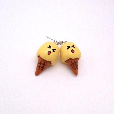 Cartoon food jewellery. Handmade kawaii ice cream earrings ...