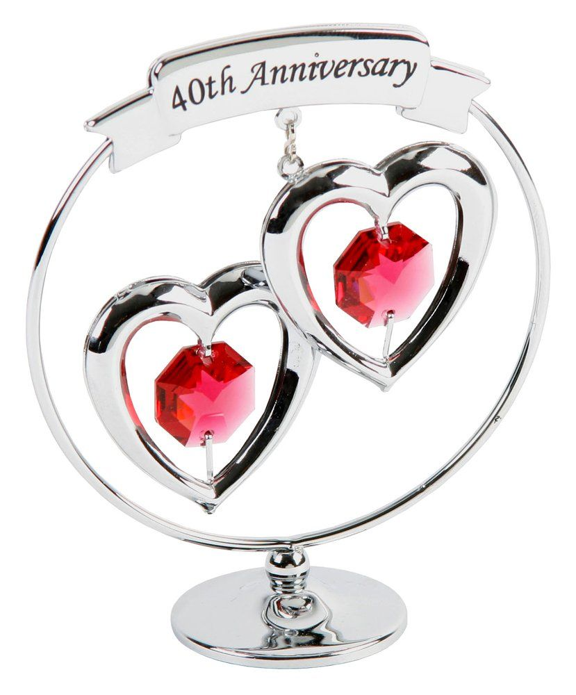 40th Anniversary Symbol With Silver Plated Keepsake Anniversary