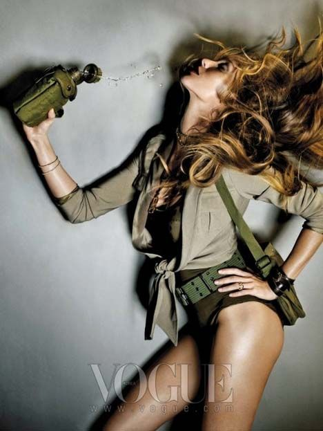 """Gisele Bundchen in Vogue Korea """"Call Of Duty"""". Photographed by Nino Muñoz and styled Katie Mossman."""