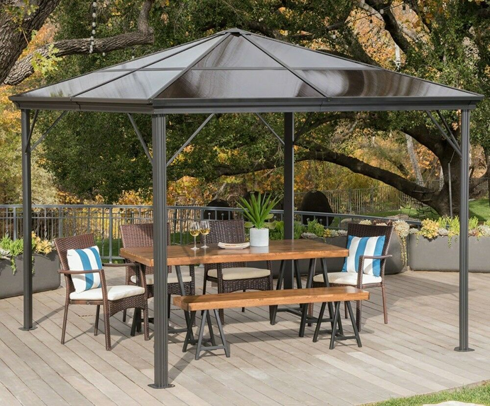 Hard Top Gazebo Aluminum Pergola Metal Large 10x10 Outdoor