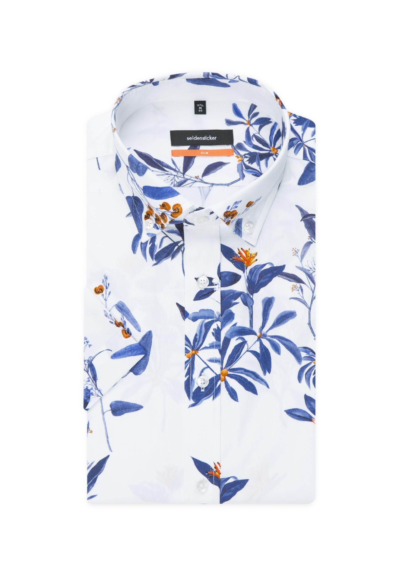 Bügelleichtes Popeline Business Hemd in Slim mit Button Down