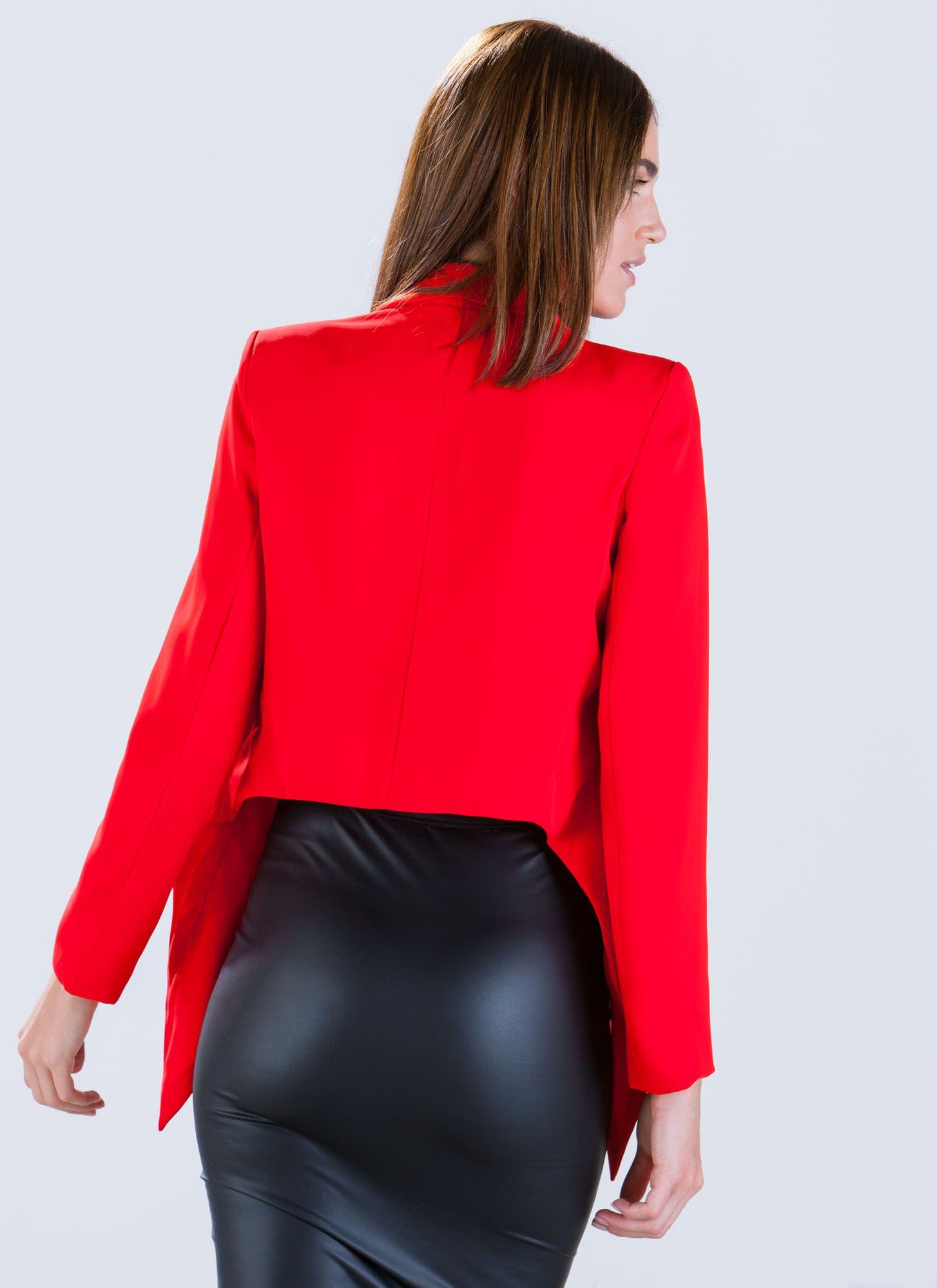 Chasing waterfalls highlow blazer mocha red