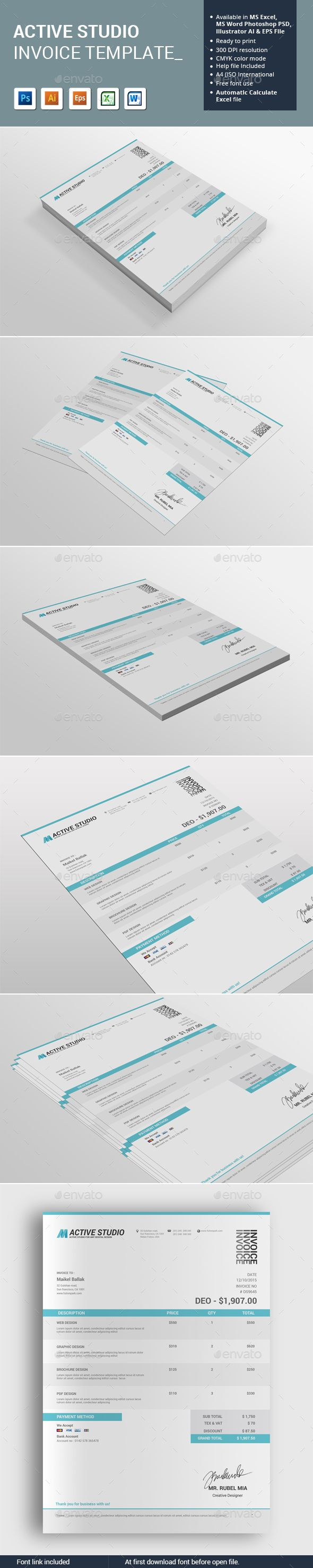 Active Studio Invoice Template | Empresas