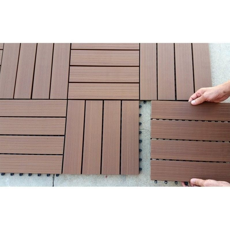 Vifah 12 X 12 Composite Deck Tile In Cedar Set Of 10 In 2020 Deck Tile Interlocking Deck Tiles Deck Tiles