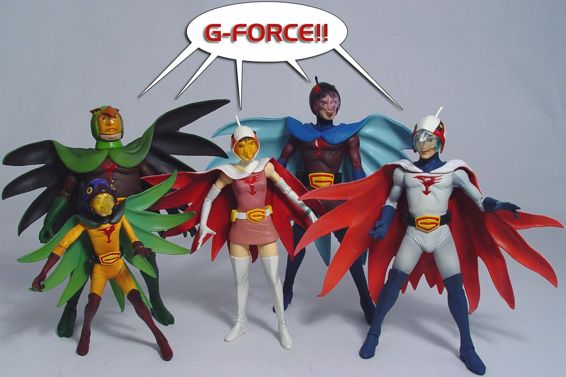 Gatchaman Battle of the Planets G-Force full set of 6 mini figures