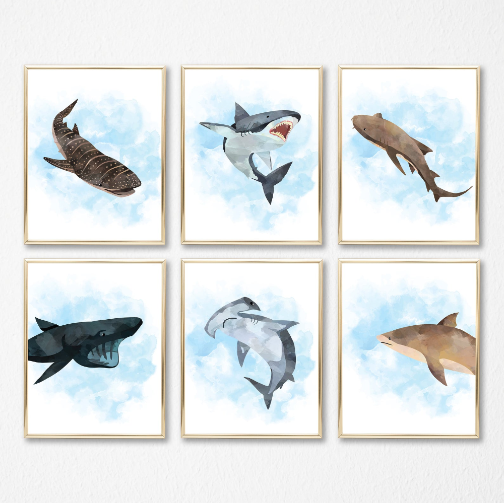 Shark Prints Set Of 6 Shark Nursery Ocean Sea Animal Nursery Sharks Ocean Printable Art Hammerhead Great White Art Digital Files In 2020 Digital Art Prints Sea Animal Nursery Prints