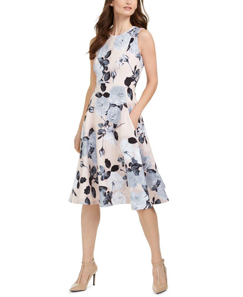 Calvin Klein Floral-Print Fit & Flare Midi Dress  & Reviews - Dresses - Women - Macy's