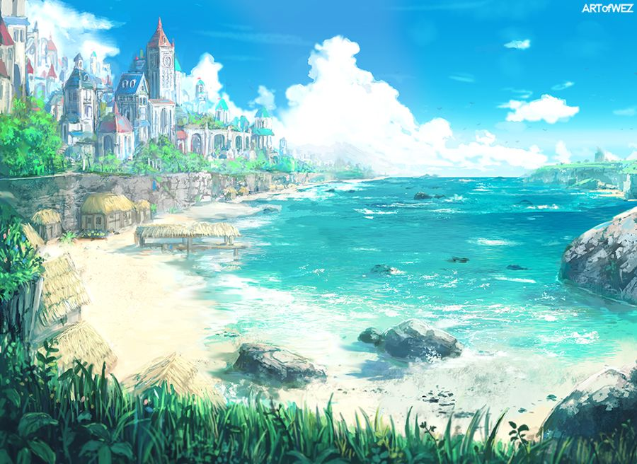 Just conceptillustration of a beach city in a fantasy