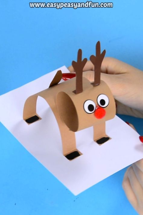 3D Construction Paper Reindeer - Christmas Craft Idea with Template - Easy Peasy and Fun