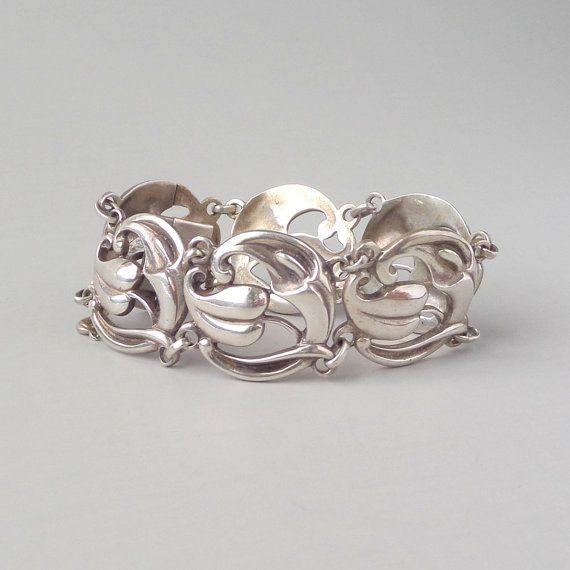 Scandinavian Sterling Bracelet. Art Nouveau Revival. by pinguim