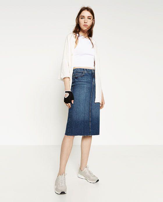 image 1 of denim midi skirt from zara
