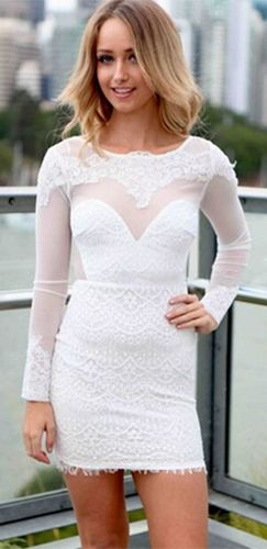 White Long Sleeve Sheer Mesh Lace Sweetheart Scoop Neck Cut Out Back Bodycon Mini Dress