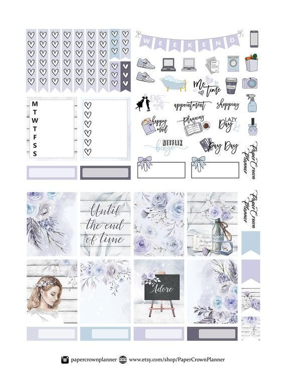 Indigo in bloom weekly planner sticker kit Erin Condren Happy planner