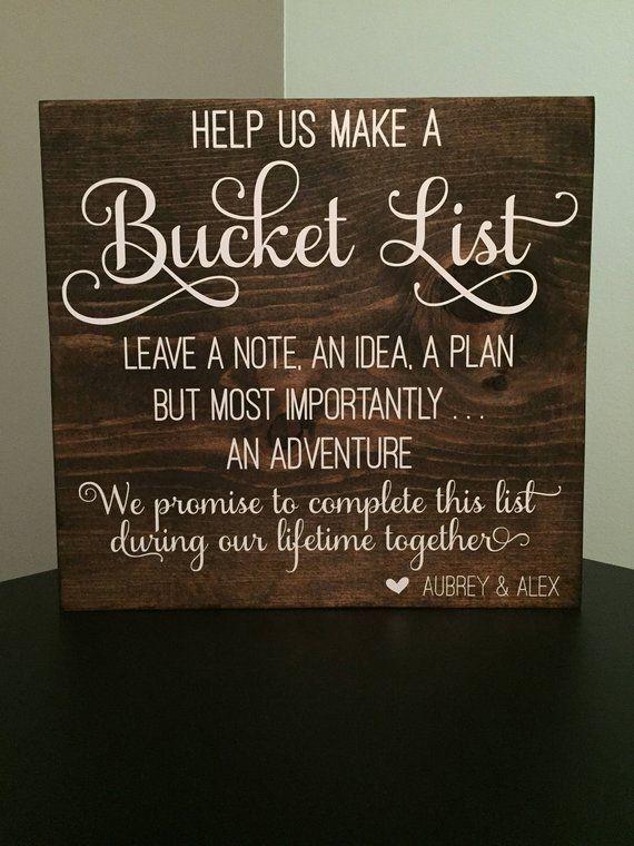 Personalized Wooden Sign ~ Adventure Wedding Bucket List Activity