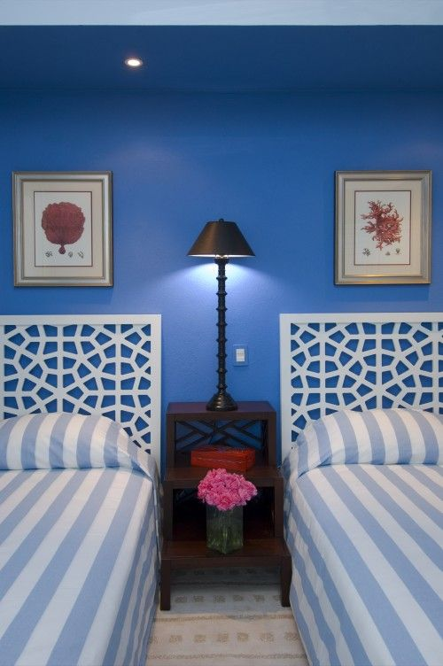 You Could Even Paint Outside Lattice Board And Use As Headboards Blue Bedroom Colors Bedroom Decor Tropical Bedrooms