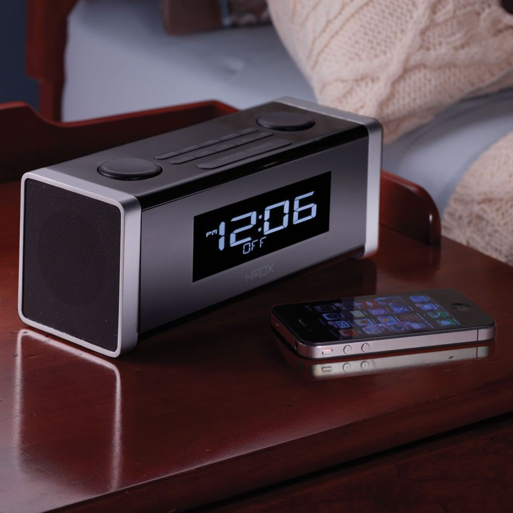 the bluetooth clock radio pairs wirelessly with an iphone ipad android powered device or. Black Bedroom Furniture Sets. Home Design Ideas
