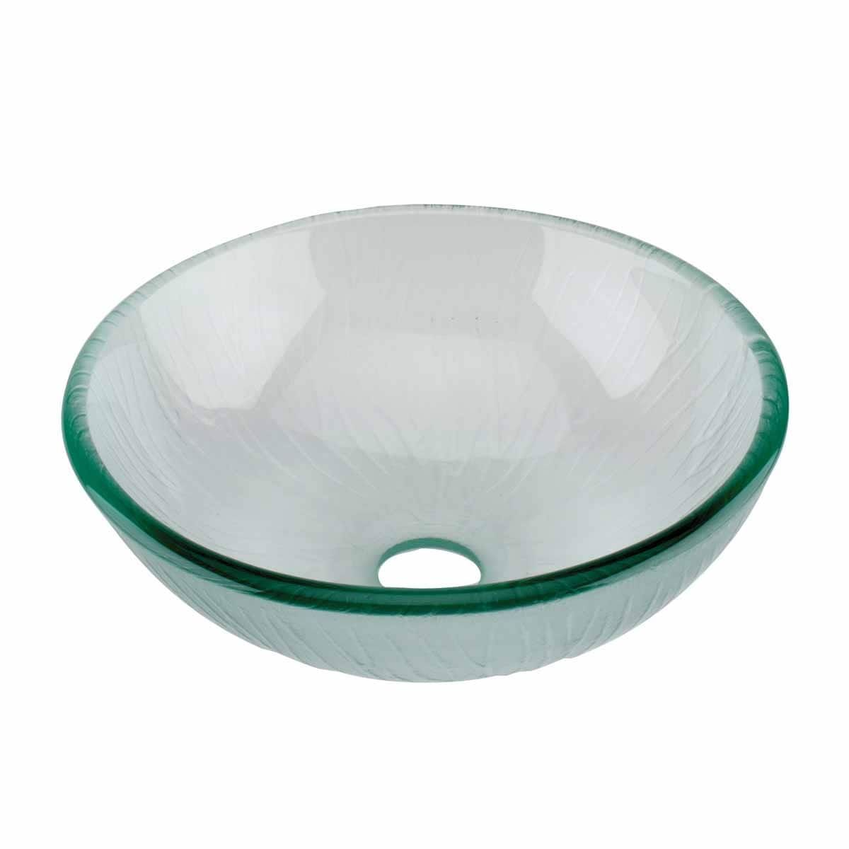 Mini tempered glass vessel sink with drain frosted green textured