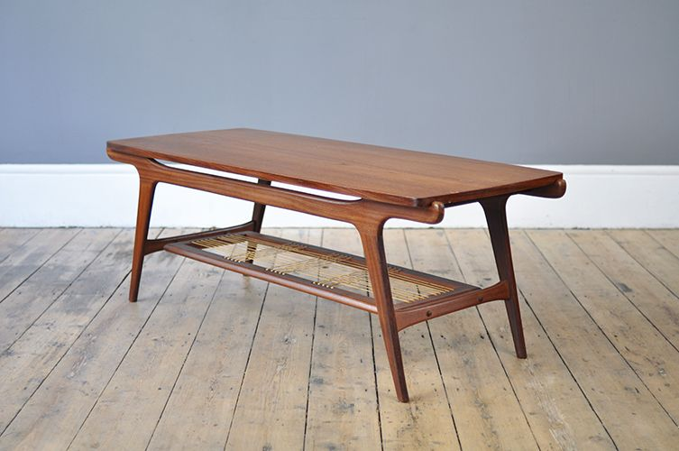 Dutch Mid Century Coffee Table With Rattan Shelf 3 Mid Century Coffee Table Coffee Table Coffee Table Wood