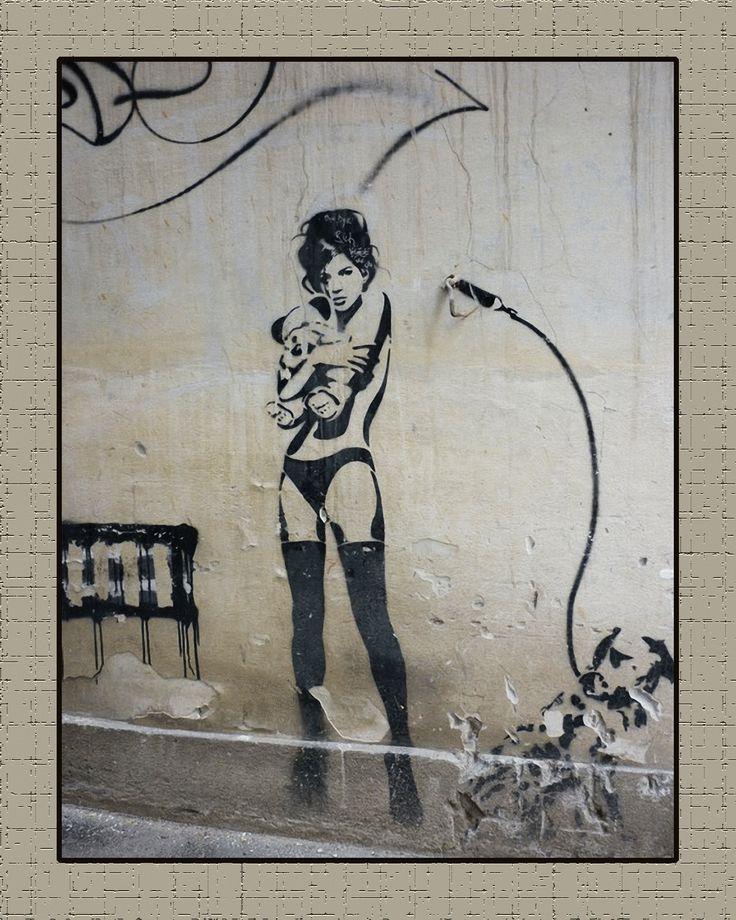 "Street Art Banksy + Others Canvas Prints ""Stripper and Teddy Bear"" Graffiti Punk…"