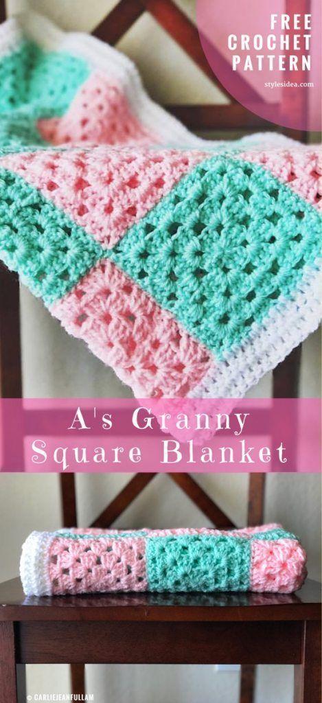 Granny Square Baby Blanket Free Crochet Pattern | Decken