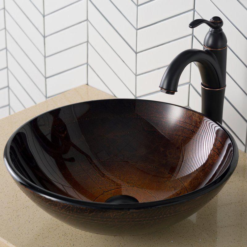 Handmade Copper Glass Circular Vessel Bathroom Sink Wall Mounted Bathroom Sinks Glass Vessel Sinks Bathroom Sink