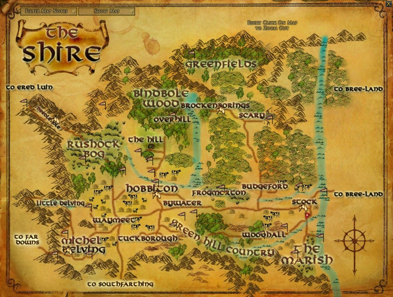 detailed map of the shire the shiresrings onlinemiddle earth maplord