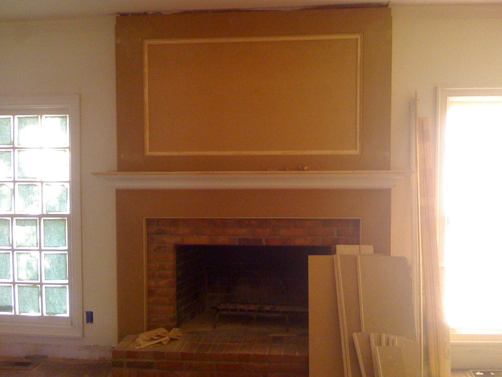 Brick Fireplace Remodel Ideas Cover The 80s Brick Fireplace With Mdf And A Mantel Updated