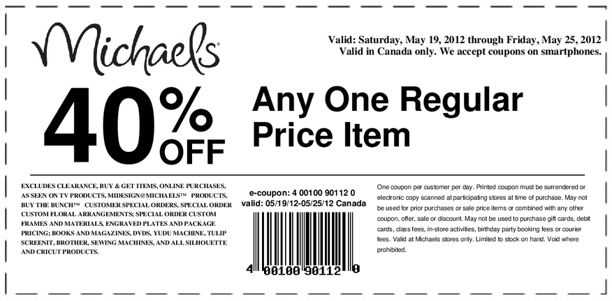 40 Off 1 Item At Michael S Http Shopcatch Com Deal 50085 Michaels Coupon Printable Coupons Print Coupons