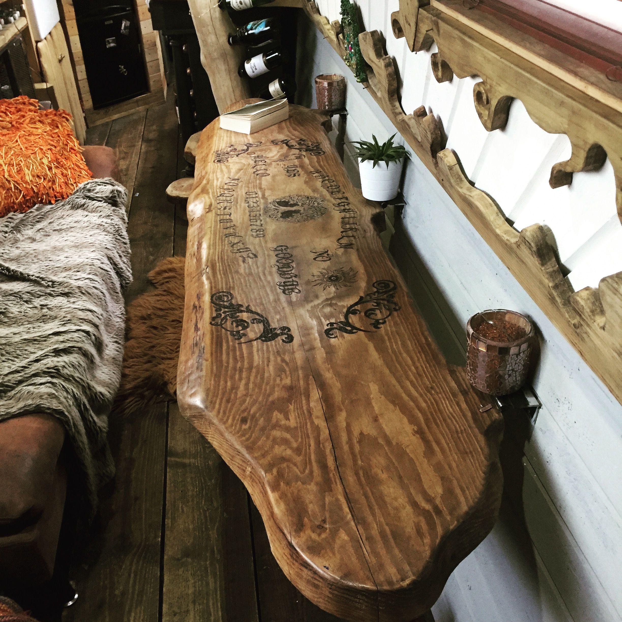 Ouija board coffee table Narrowboat Recalcitrant May 17