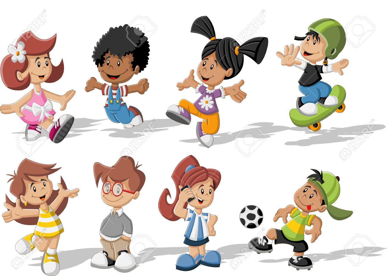 Grupo De Niños Felices Jugando Dibujos Animados