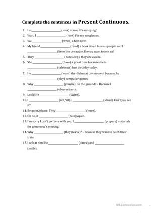 PRESENT CONTINUOUS worksheet - Free ESL printable worksheets made by